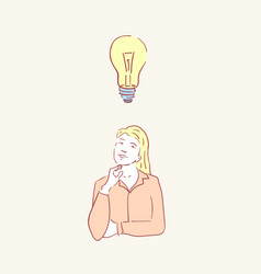 woman idea lightbulb female lamp hand drawn style vector image