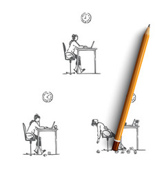 working girl - girl sitting with laptop working vector image