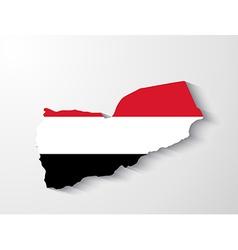 yemen map with shadow effect vector image