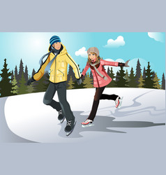 young couple ice skating vector image