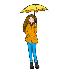 Young woman is enjoying weather vector