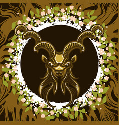 zodiac sign of capricorn in earth circle vector image