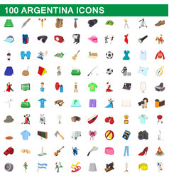 100 argentina icons set cartoon style vector image vector image