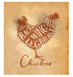 chicken cutting scheme craft vector image