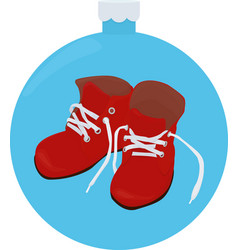 christmas cartoon red boots isolated on blue vector image