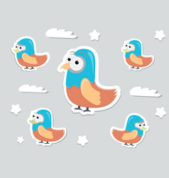 funny cartoon character birds stickers vector image vector image