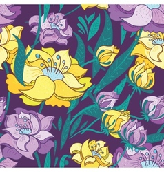 Purple and Yellow Peony Pattern vector image vector image