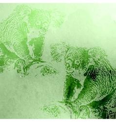 vintage of green watercolor koala bears on t vector image vector image