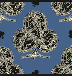 Vintage seamless pattern card suits vector