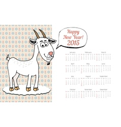 Calendar Template 2015 with Goat Graphic vector image vector image