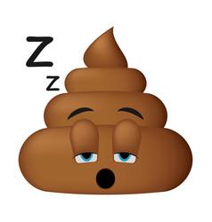 shit icon sleep face poop emoticon vector image vector image