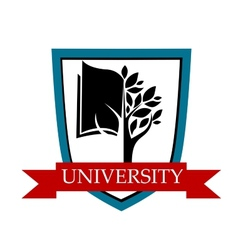 University emblem with shield and banner vector