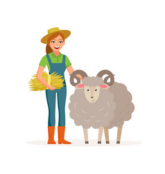 farmer - woman with a sheep smiling with hay vector image vector image