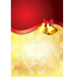 gold christmas background bells red stripe vector image