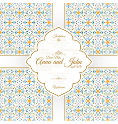 invitation card with geometric pattern vector image