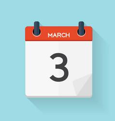 March 3 Calendar Flat Daily Icon vector image vector image