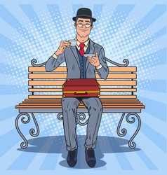 pop art englishman drinking tea on the bench vector image vector image