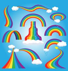 rainbow colorful bowed arc in raining sky vector image