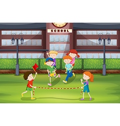 Boys and girls playing piggy back ride vector image
