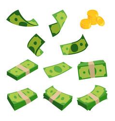 bundles of dollars isolated on white background vector image
