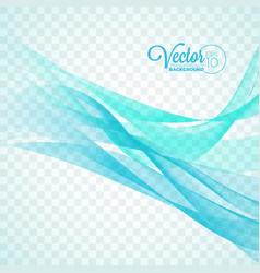 elegant flowing blue wave design on transparent vector image vector image