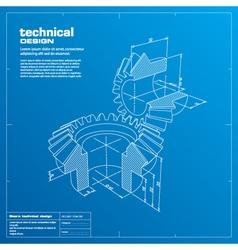 gears blueprint background vector image vector image