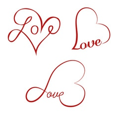 Love calligraphy hearts vector image vector image