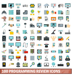 100 programming review icons set flat style vector image