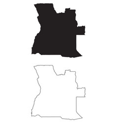 Angola country map black silhouette and outline vector