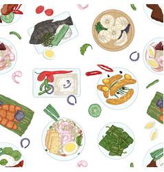 Asian cuisine hand drawn seamless pattern vector