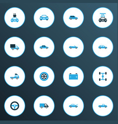 Auto icons colored set with car auto accumulator vector