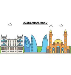 Azerbaijan baku outline city skyline linear vector