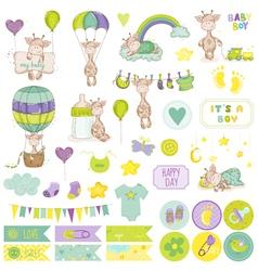 Baby boy giraffe scrapbook set tags vector