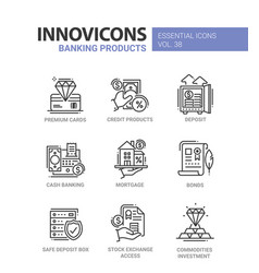 banking products - modern line design icons vector image