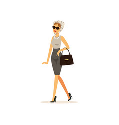 Beautiful elegant young woman dressed in retro vector