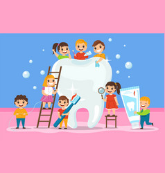 big tooth and kids oral cavity hygiene vector image