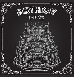 Birthday cake on the chalkboard vector