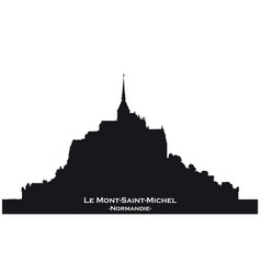 black skyline silhouette from mont saint michel vector image