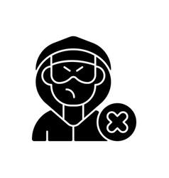 Block or mute harasser black glyph icon vector