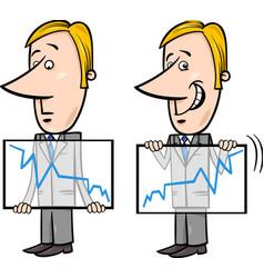 Businessman and graph cartoon vector