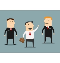Businessman with bodyguards on meeting vector