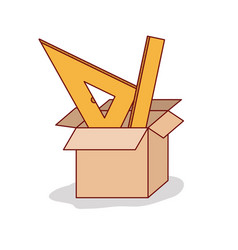 carton box with set ruler on white background vector image