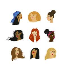 Cartoon women portraits different ethnicity vector