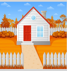 cartoon wooden house in fall season vector image