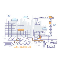construction site or area with constructed vector image