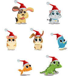 Cute animals wearing santa hat vector
