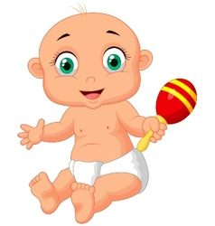 Cute baby cartoon playing with macara toy vector