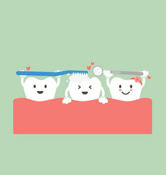 Cute group friend of tooth are brushing teeth vector