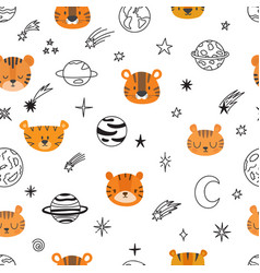 Cute space seamless pattern with cartoon tigers vector