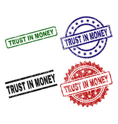 Damaged textured trust in money seal stamps vector